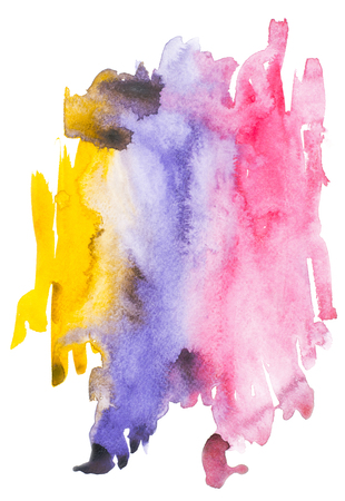 Abstract painting with colorful watercolour paint blots and strokes on white Stock Photo