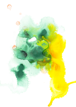 Abstract painting with green and yellow watercolor paint blots on white Stock Photo