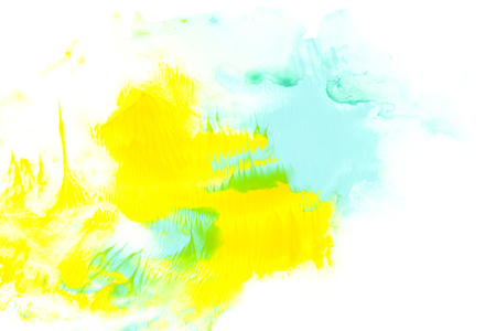 Abstract painting with blue and yellow watercolour paint strokes on white Stok Fotoğraf