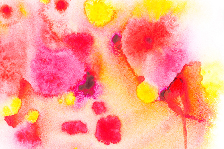 Abstract painting with bright red, pink and yellow watercolor paint blots on white Stock Photo