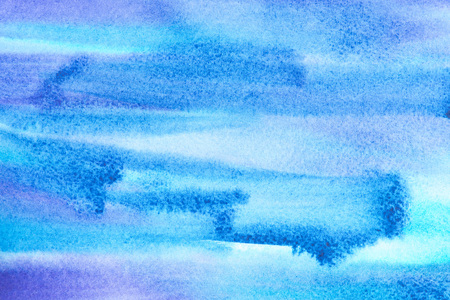 Abstract painting with bright blue paint strokes, full frame