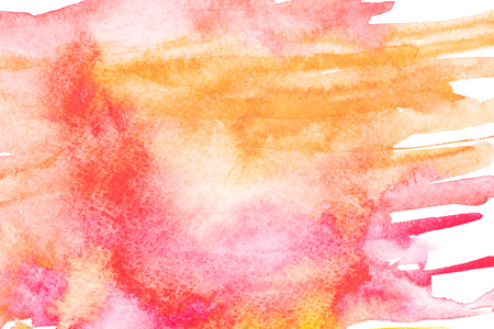 Abstract painting with bright red, pink and orange paint strokes on white
