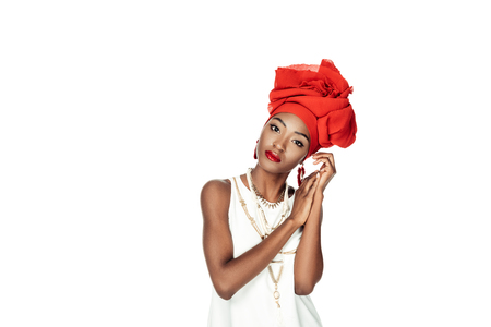 stylish african american woman in wire head wrap isolated on white