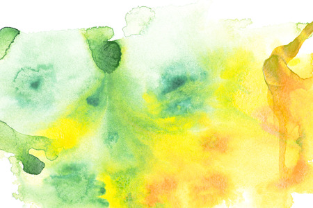 Abstract painting with yellow and green paint blots on white Archivio Fotografico - 114406813
