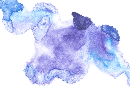Abstract painting with blue paint blots on white