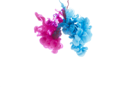 mixing of blue and pink paint splashes isolated on white Banco de Imagens - 114406988