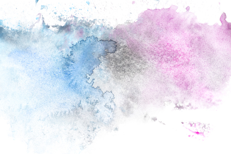 Abstract painting with light blue and purple paint blots on white