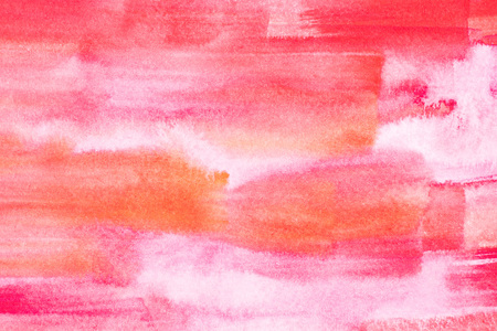 Abstract painting with bright red and pink paint strokes on white