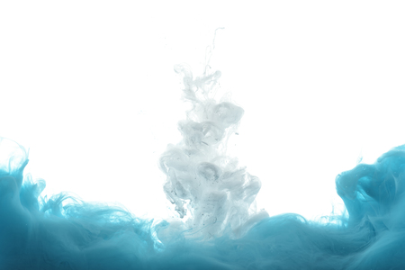 mixing of blue and white paint splashes isolated on white