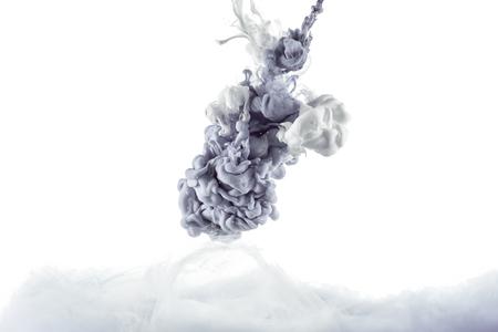 monochromatic grey paint splash, isolated on white Stok Fotoğraf
