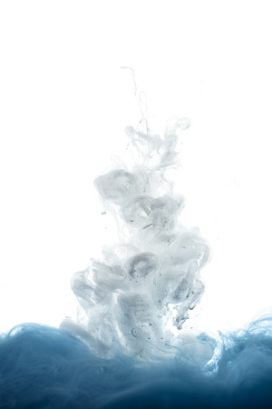 close up view of mixing of blue and white paint splashes isolated on white Banque d'images - 114410606