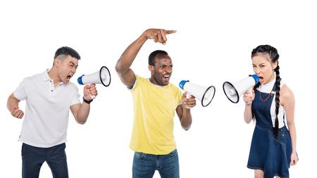 portrait of multiethnic people shouting into megaphones isolated on white Banco de Imagens - 114410954