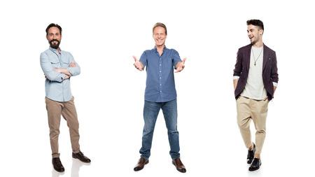 stylish smiling men posing isolated on white