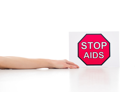 cropped shot of dead person near stop aids banner isolated on white Stock Photo