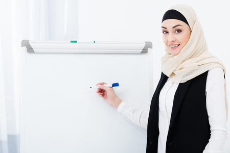 smiling muslim businesswoman in hijab pointing ay white board in office
