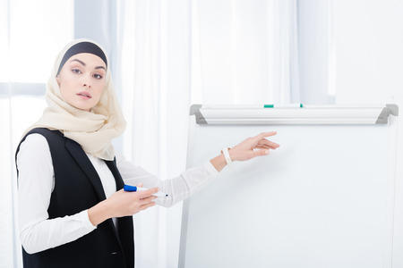 portrait of muslim businesswoman in hijab pointing ay white board in office