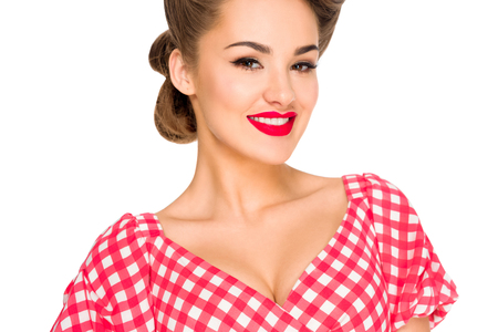 beautiful smiling woman in retro style clothing isolated on white