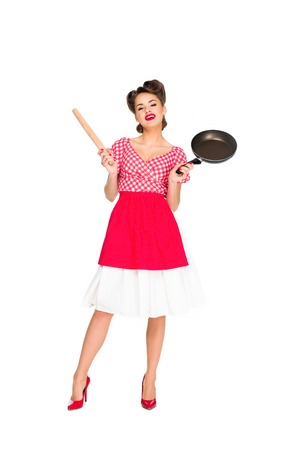 stylish woman in retro clothing with rolling pin and frying pan isolated on white Stock fotó - 114472185