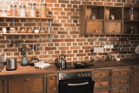 modern kitchen interior with appliances and utensils