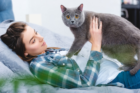 young woman lying on bed with adorable grey cat Standard-Bild - 116291593