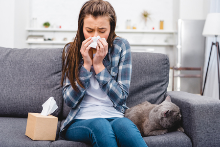 girl blowing nose in facial tissue while sitting with cat on couch Stock Photo