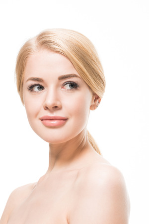 naked young blonde woman smiling and looking away isolated on white Stock Photo - 116317386