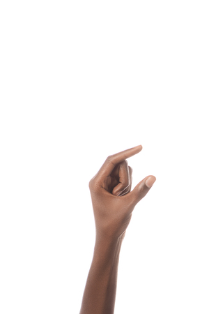 partial view of african american man showing size gesture with hand isolated on white