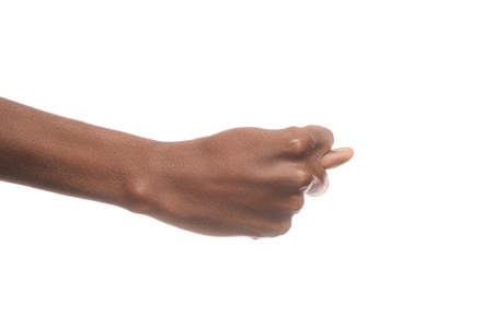 partial view of african american man showing letter T in deaf and dumb language isolated on white Stock fotó