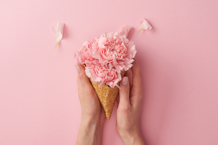 cropped shot of woman holding wafer cone with beautiful tender flowers isolated on pink Stock Photo