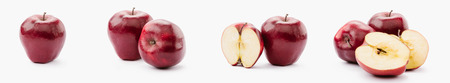 collage of whole and halved red delicious apples on white background