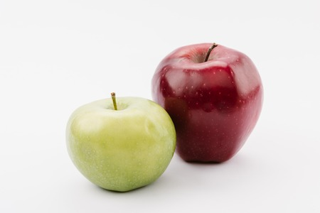 large ripe red and green apples on white background Banco de Imagens