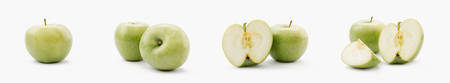 collage of whole and cut green apples on white background