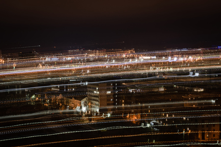 night cityscape with blurred bright illumination 写真素材