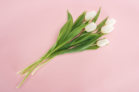 top view of spring bouquet with white tulips isolated on pink