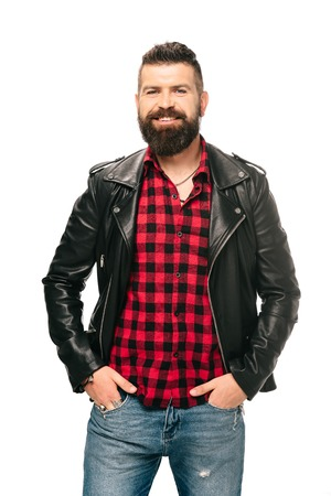 smiling bearded man posing in black leather jacket isolated on white Stok Fotoğraf