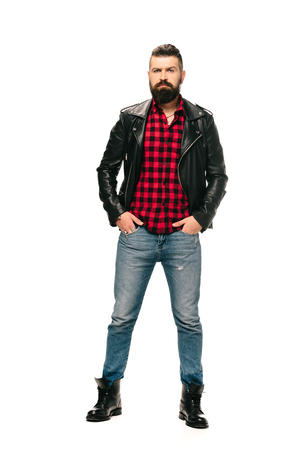handsome rocker posing in black leather jacket isolated on white Stok Fotoğraf