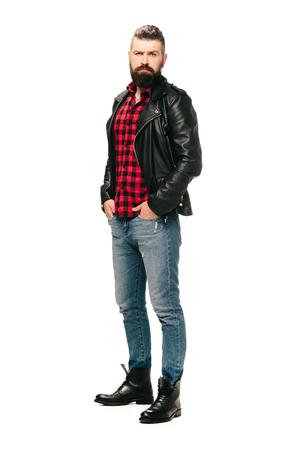 bearded rocker posing in black leather jacket isolated on white Stok Fotoğraf