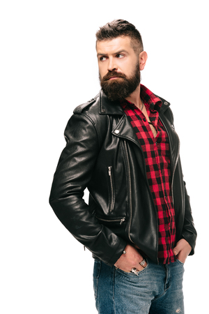 bearded man in black leather jacket isolated on white Stok Fotoğraf