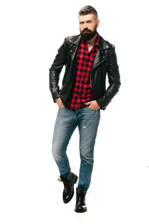 handsome bearded man in black leather jacket isolated on white