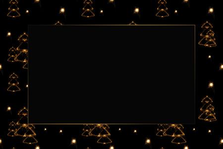 full frame of fir tree light signs on black backdrop