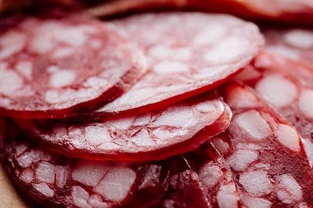 close up view of delicious fat sliced salami 版權商用圖片 - 116438391