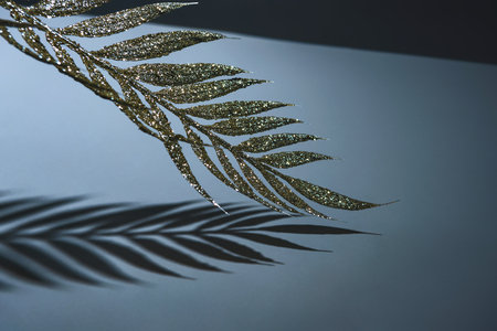 festive branch decorated by golden glitter and shadow, christmas background concept 스톡 콘텐츠 - 116386906
