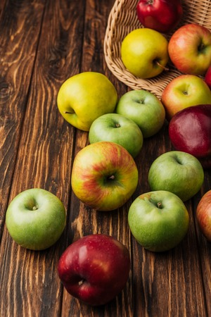 scattered multicolored apples and wicker basket on wooden table