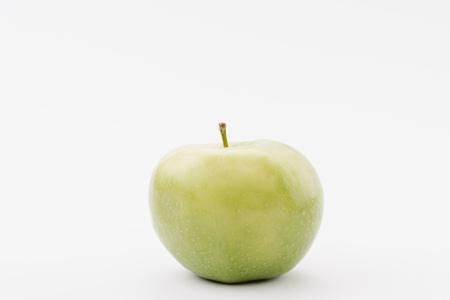 large ripe green apple on white background Banco de Imagens