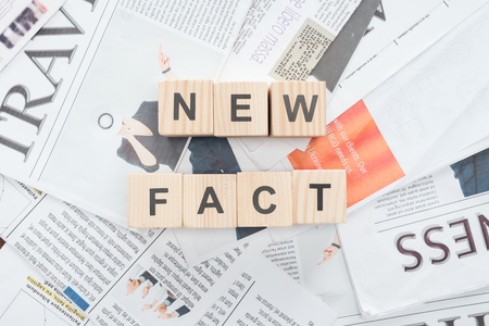 top view of wooden cubes with words news fact on newspapers
