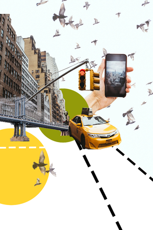 cropped shot fo man with smartphone taking picture of new york city with birds, taxi and circles illustration