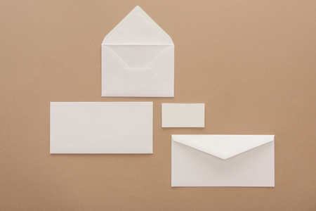 Top view of envelopes, cards and sheet of paper 스톡 콘텐츠