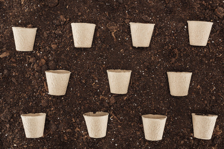 flat lay of used paper cups on ground,  protecting nature concept