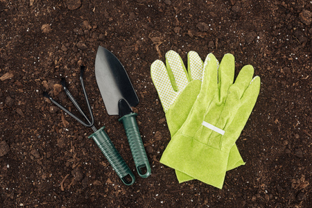 top view of gloves near shovel and rake, protecting nature concept