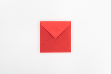 flat lay with red envelope isolated on white, st valentine day concept